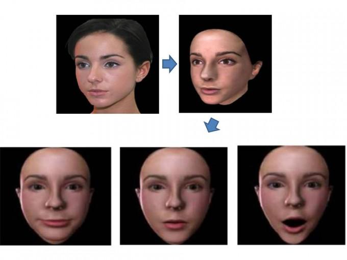 국내 연구진이 한 장의 사진(1)에서 윤곽선을 추출해 3차원 얼굴 모델링(2)을 한 뒤, 모델링한 얼굴이 다양한 표정(3~5)을 지을 수 있게 만드는 기술을 개발했다. - 미래창조과학부 제공